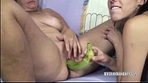 Kinky slut Lavender fucking a MILF with bananas