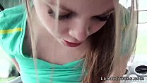 Horny teen hitchhiker sucking and fucking in th...