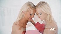 Raunchy Romp - Lesbian Pillow Fight Turns To Pussy Play