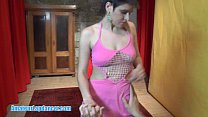 Wild lady with short haircut lapdances for horny guy