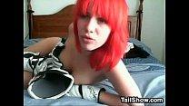 Redhead Puts On Her Biker Gear