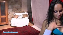 Gipsy amateur does strip and gives wild handjob...