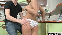 Hard fuck in kitchen with an insecure young slut