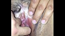 Fingering and spreading my girlfriends hot thick wet Latina pussy