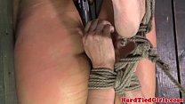 Restrained bondage subs bastinado on box