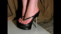 walking in 7inch high heel platform thongs
