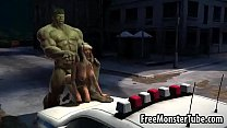 Foxy 3D babe gets fucked by The Incredible Hulk...