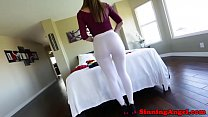 Bigbooty babe pussyfucked in ripped tights