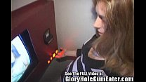 Super thin Katarina blowing men at the gloryhole!5min