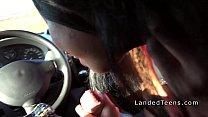 Teen hitchhiker giving double handjob