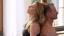 Yoga teacher fucks blonde in doggy style