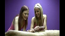 Two jerky girls playfully masturbate a lucky ma...
