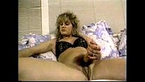 Blond buxom hermaphrodite jerks off as she fucks herself with huge