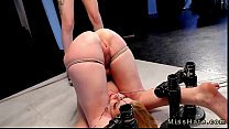 Babe in device bondage ass flogged and pussy st...