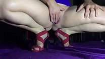 Squirting in Red Dress with Open Red Sandals in SlowMo by HotwifeVenus