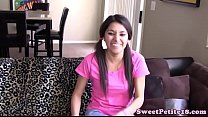 Pigtailed petite teen banged on couch