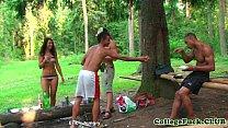 Euro bikini teens cocksucking in outdoor orgy