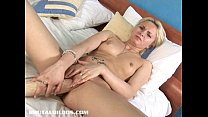 Blonde Russian fills her tight pussy with a big...