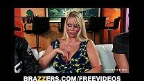 Slutty blonde MILF Karen Fisher is slammed on the couch