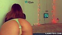 Twerking PAWG masturbates with anal plug & dildo