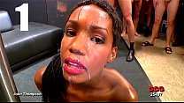 Ebony cumslut swallows over 30 loads