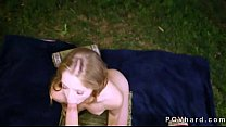 Tattooed brown haired babe fucking POV in backyard