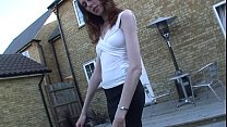 Polly Pierson Gives a blowjob outdoors