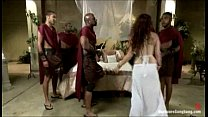"Ganbanged ""Roman royal"" fucked by her black guards"