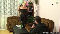 Hairy pussy mother inlaw gets naked then rides cock