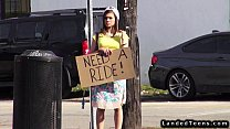 Teen hitchhiker fucks huge dick outdoor POV