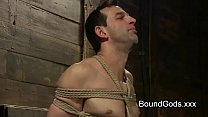 Bound gay gets CBT and sucks dick