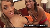Two black teen cuties in a threesome