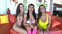 SWALLOWED Horny Abigail, Romi and Kalina threeway gang blow