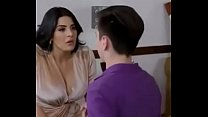hot milf drag her son's friend in her house and kiss him