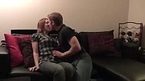 Amateur sex and creampie in the living room