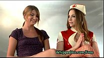 Nurse spanking ass of babe in suspension