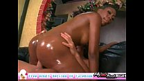 Oiled black ass drilling