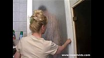Mature mom and her son on the shower