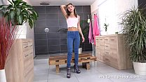 Gina Gerson pees through her denims and fingers...