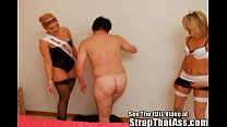 Mistress carly and the Strap-on princess give Aaron what he really deserve