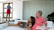 Squirting petite teens threeway with stepmom