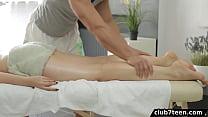 Big tit girl gets massage and fucks