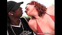 Awesome redhead bitch sucks big black