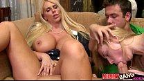 Molly Bennett caughty busty milf Karen Fisher sucking her bf cock