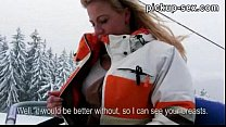 Eurobabe Nathaly Teges flashes her tits and ban...
