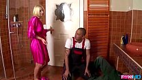 Rich blonde house wife sucks two cocks for handy work payment