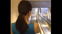 Asian bitch on the escalator