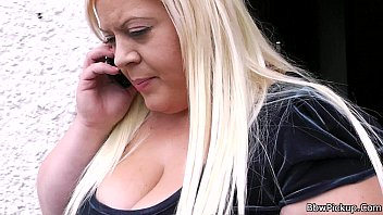 Horny chubby blonde takes it from b..