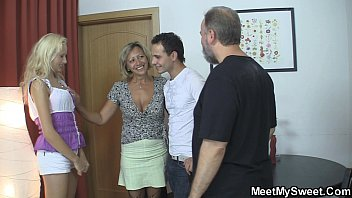 Old mom seduces his new girl into f..