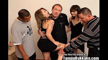 Group of guys fucking a slut